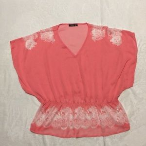 Pink and white sheer floral top size 1X